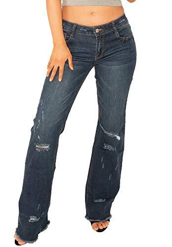 4dbf35664 Cindy H Paris Vaqueros Bootcut Efecto Roto y Deshilachado para Mujer Jeans  Estilo Flare - Azul - 38