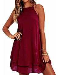 Reaso Femmes Robe Chiffon Ete Courte Sans Manches Coton Mode Dos Nu Lâche Liquette Uni Original Fluide Tunique Casual Mini Dress