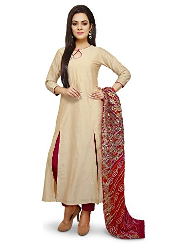 Utsav Fashion Hand Embroidered Cotton Silk Straight Suit in Beige Color