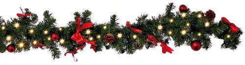 Best Season LED-Tannengirlande mit 40 warm weiß LED, circa 270 x 15 cm, batteriebetrieben, Sichtkarton, rot/gold Dekoration 004-56 (Und Dekorationen Gold Rot)