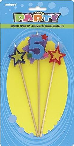 Unique Party - 34045 - Lot de 3 Bougies d'Anniversaire de Numéro 5 - Étoilées