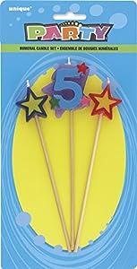 Unique Party- Conjunto de 3 velas de cumpleaños con forma de estrella, número 5 (34045)