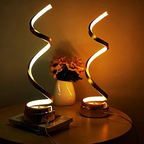 CWTCHHHH Moderne kreative Art Eye Protected LED -Schreibtischlampe Spiral Arc Tischleuchte für Schlafzimmer Wohnzimmer WohnkulturWarm White -