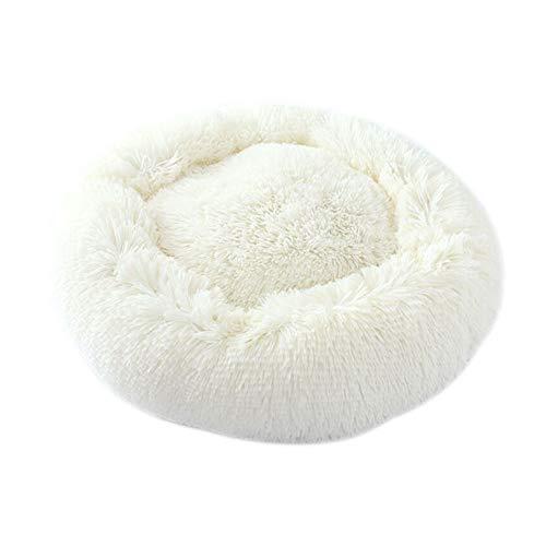 Segle Kätzchen,Weich,Rund,Plüsch,für Hunde,KatzenBett und Tiere,Hundebett,Sofa,Kissen,Warm,für Haustiere,Welpen,Hunde,Katzen,für den Winter,Körbchen, Plüsch,Schlafbett,Gemütlich-Weiß -