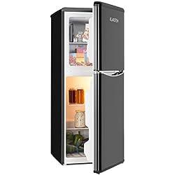 Klarstein Monroe L - combiné réfrigérateur et congélateur, Look retro, réfrigérateur 70L, congélateur 38L, 2 tablettes verre, Compartiment légumes, refroidissement réglable sur 5 niveaux, noir