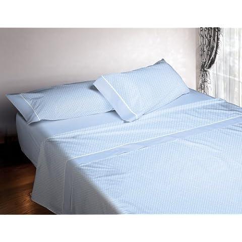 Burrito Blanco - Juego de sábanas 673 Azul para cama de 160x190/200 cm