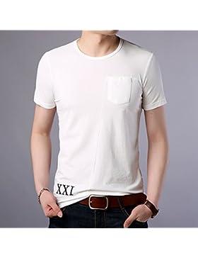 Mei&s Camiseta de Manga Corta con Cuello Redondo y Manga Corta para Hombres
