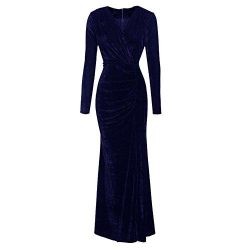 Vertvie Damen Kleid Herbst Winter Langarm Samt Velvet Vintage Elegant Maxikleid Partykleid Cocktailkleid mit V-Ausschnitt(Dunkelblau, M) (Velvet Kleid)