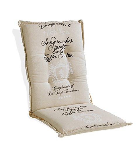 Sesselauflage Sitzpolster Gartenstuhlauflage für Mittellehner DABUR 5 | B 50 cm x L 110 cm | Natur | Baumwolle | Polyester