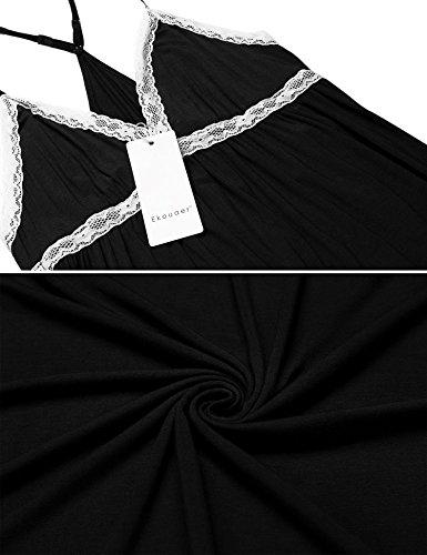Ekouaer Damen Nachthemd Negligee Spaghetti Träger V Ausschnitt Nachtkleid Babydoll Nachtwäsche Lingerie mit Spitze Schwarz