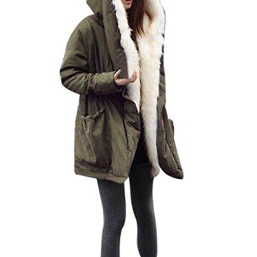 Winter Mäntel Damen Sunday Warme Dicke Fleece Faux Pelzmantel Jacke Parka mit Kapuze Graben Outwear (Armee grün, L) Dicken Arm ärmel