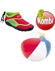 Beco combinado Surf Zapatos Escarpines + Balón Beach (Rojo/Verde