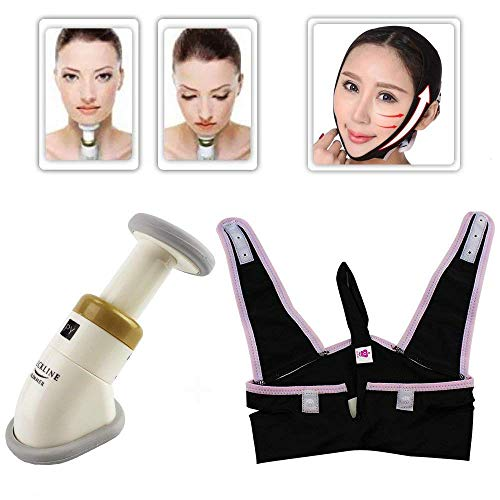 Miji Neckline Slimmer Massager+ V Line Jaw Belt Jawline Exerciser for Double Chin Remover, Portable Face Neck Compression Toning Massager System for Chin Reducer and Skin Anti-Aging Anti (Style 1) -