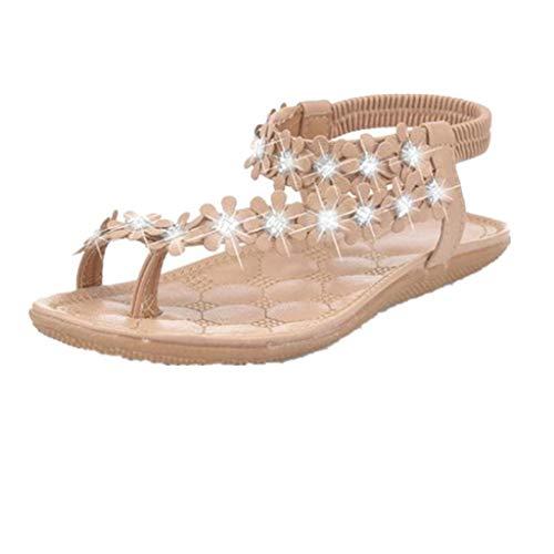 feiXIANG Mode Sommer Sandalen Damen Strandschuhe mit Baumwolle Urlaub Outdoor Schöne flach Sandalen (36, A/Khaki) Pointed Slingback