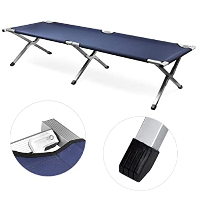 Checknow New Single Outdoor Leisure Folding Aluminum Camping Bed Camp Travel Outdoor Bed (Navy)