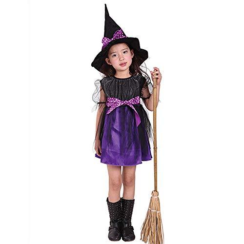 AZX Kinder Halloween Kostüm Kleid Mit Hexenhut Mädchen Fancy Party Kleid Hut Baby Kleinkind Kleidung Set Lila&Schwarz (90 cm)