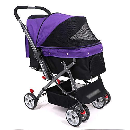Mascota Cochecito Carrito para Mascotas, Carro Multifuncional para Perros y Gatos, Carrito de Paseo, Auto Cerrado de una Sola Llave (48 × 70 × 93 cm) (Color : Purple)