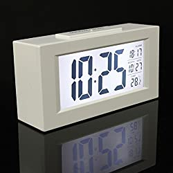 Generic Fashion Stylish Multi-function big Digital Snooze Alarm Clock Light Thermometer LED Backlight Large LCD Display With Calendar White
