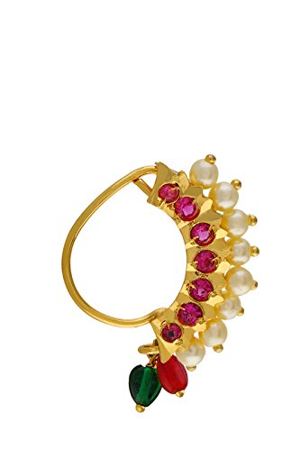 VAMA FASHIONS Maharashtrian style design traditional Nath clip-on type(for unpierced nose) jewellery.