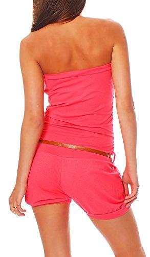 Hosenanzug Jumpsuit kurz mit Gürtel für Damen - 3