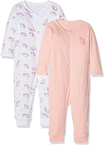 Name it nbfnightsuit 2p zip brightwhiteunic noos pigiama, multicolore (weiß bright white), 56 (taglia produttore: 50) (pacco da 2 bimba