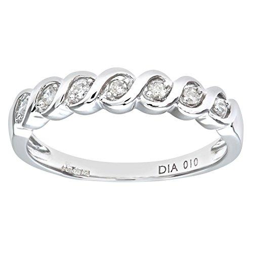 Naava PR07018W(K) - Anillo de mujer de oro blanco (9k) con diamantes (talla: 10)