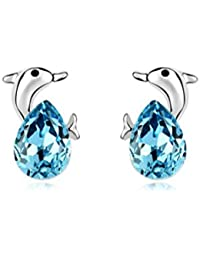 NEVI Cute Dolphin Fish Animal Swarovski Crystals Rhodium Plated Stud Earrings Jewellery for Women And Girls