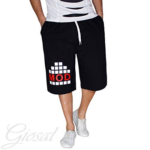 Pantalone Corto Uomo Tuta Bermuda Cotone Shorts Stampa MOD Bicolore GIOSAL Nero