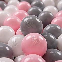 KiddyMoon 300 ∅ 7Cm Balles Colorées Plastique pour Piscine Enfant Bébé Fabriqué en EU, Blanc/Gris/Rose Poudré