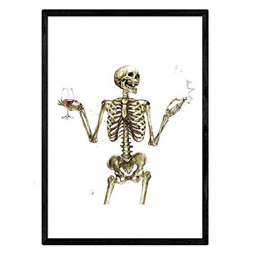 Nacnic Lámina Chico Esqueleto Bebiendo Vino. Posters con...