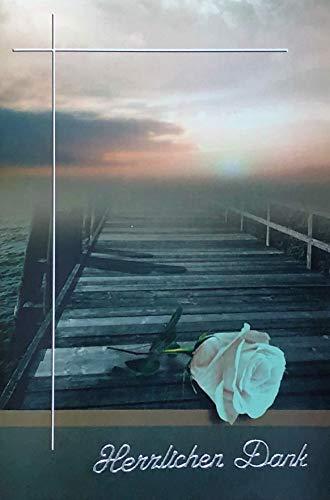 Trauer Danksagungskarten Trauerkarten ohne Innentext Motiv Rose 10 Klappkarten mit weißen Umschlägen im Set Dankeskarten Dankeschön Karten Kuvert Danke sagen Beileid K225 (Dankeschön-karte-weiß)