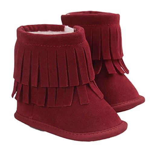 FEITONG Baby Soft Snow Boots Double-deck Quasten weiche Krippe Schuhe Kleinkind Stiefel (0 ~ 6 Monate, B) D