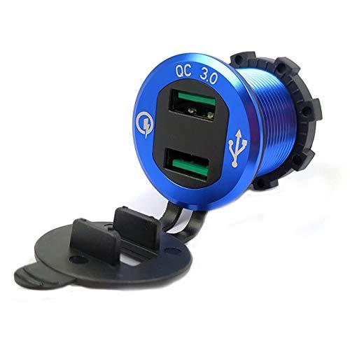 Ballylelly Blue - Red Led Light 9V 12V Car Charger Socket Qc30 USB Port Volt Display for P