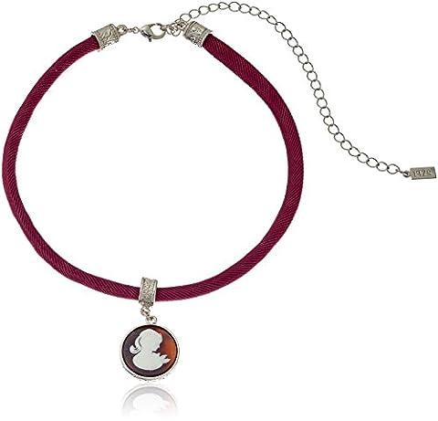 1928 Jewelry Purple Cameo Pendant Drop Adjustable Choker Necklace, 12