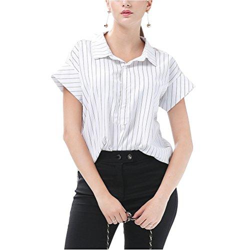 Oudan Chemisier Manches Courtes en Coton Chemise Femme Chic à Rayures avec Bowknot Eté Casual Blanc