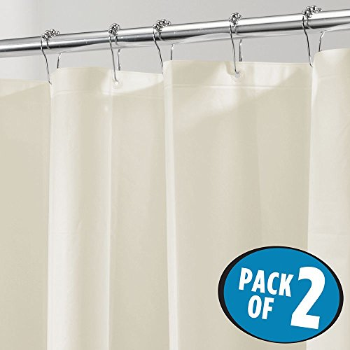 mDesign PVC-freier Duschvorhang aus PEVA (2 Stück) – wasserabweisender Badewannenvorhang mit 12 verstärkten Löchern – 183 x 183 cm – sandfarben