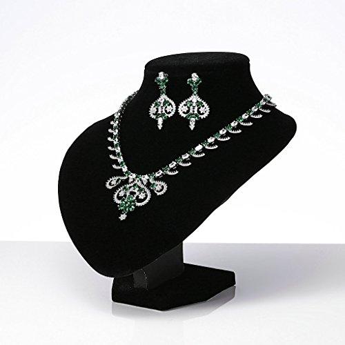 AnaZoz Bijoux Parurus Fantaisie Femme Collier Elégant Design en Couronne Fleur Feuille Cristal Forme de la Pierre:Ovale Boucles d'Oreilles & Collier Sets Vert