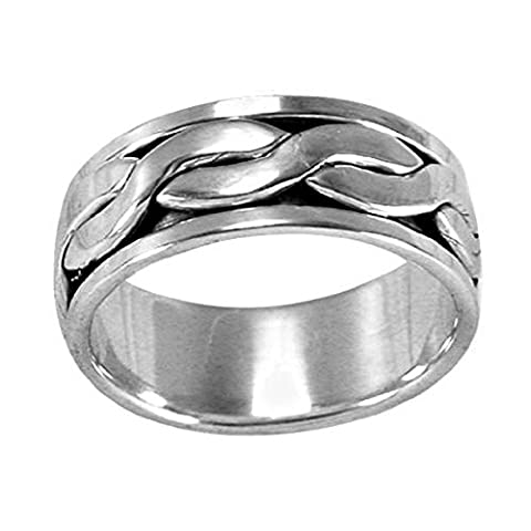 MENS 925 Sterling Silver 8MM Wide Spinner Band Ring With Celtic Knot Braid Spinning Band - Size Y