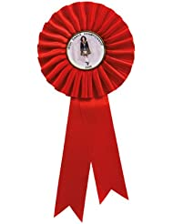 Red Personalised Large Quality Rosette with your own text up to 35 Letters plus own logo if required Size 28cm Long by 13cm Wide by 5cm center