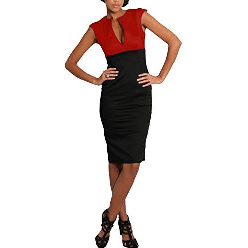 JOTHIN Damen V-ausschnitt Business Kleid Mischfarbe Sommerkleid Knielang ärmellose Festkleid Bodycon Bleistiftkleid Reizvolle Midikleid Rot