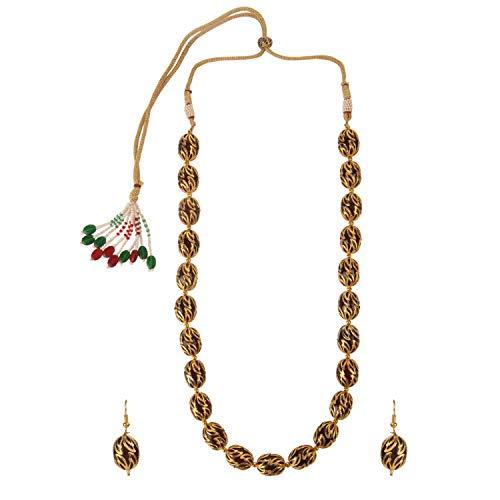 Efulgenz Indische Bollywood 14 K Gold plattiert Boho Antik Vintage Tribal Perlen Strang Statement Halskette Ohrringe Schmuck Set für Frauen Mädchen