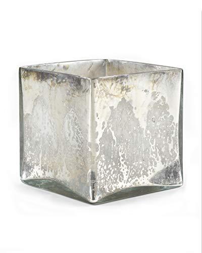 Serene Räume Living Silber Quecksilber Glas Cube Vase-Handarbeit Vintage inspiriert Vase mit Antik in 12,7cm Cube Form