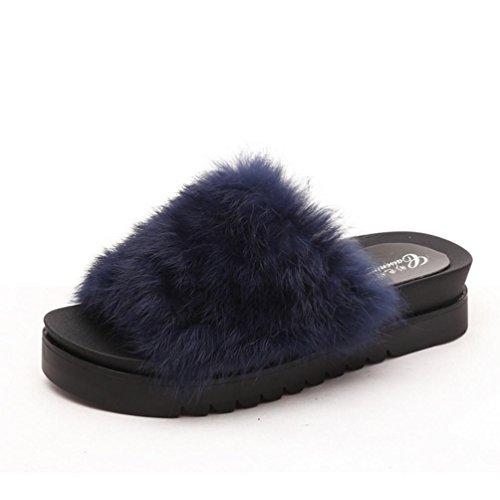DM&Y 2017 Coniglio vera parola di trascinamento Miss Mao Zhonggen skid pantofole felpa pantofole moda crosta spessa Blue
