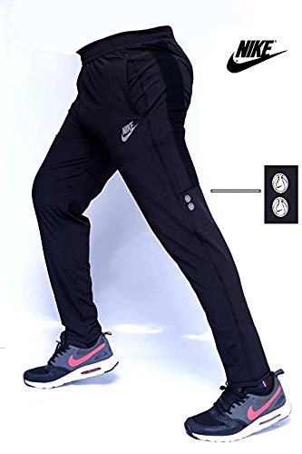 Men's Polyester Dri-Fit Slim Lower Track Pants (Navy Blue, XL)