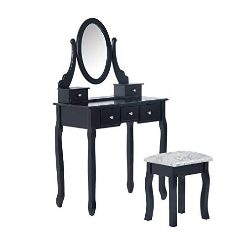Tocador + Taburete y Espejo Mesa Maquillaje 5...