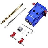 Wisamic Trousse de réparation de système de kit de gabarit de trou de poche d'alliage d'aluminium avec le foret de pas et accessoires pour le travail du bois