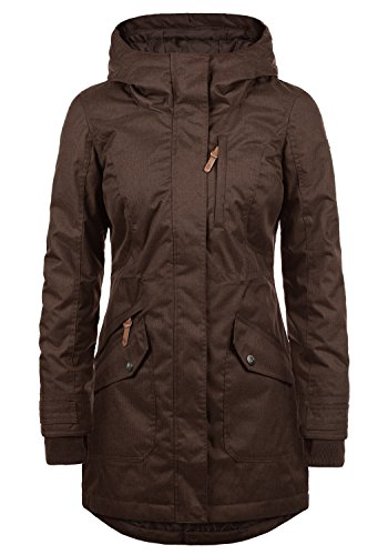 DESIRES Bella Damen Übergangsparka Parka Übergangsjacke Lange Jacke mit Kapuze, Größe:M, Farbe:Coffee Bean (5973) (Bella Und Bean)