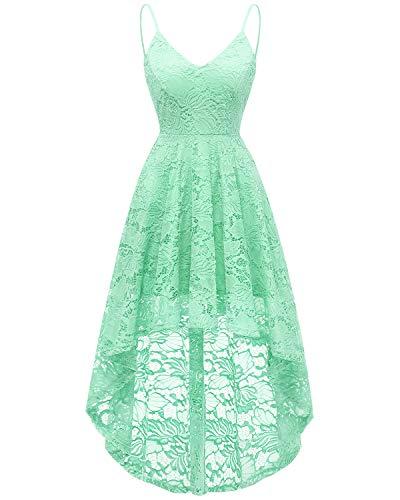 bridesmay Elegant Spitzenkleid verstellbare Spaghettiträger mit V-Ausschnitt Cocktailkleid Abendkleider Mint L - Für Mint Grün-kleid Frauen
