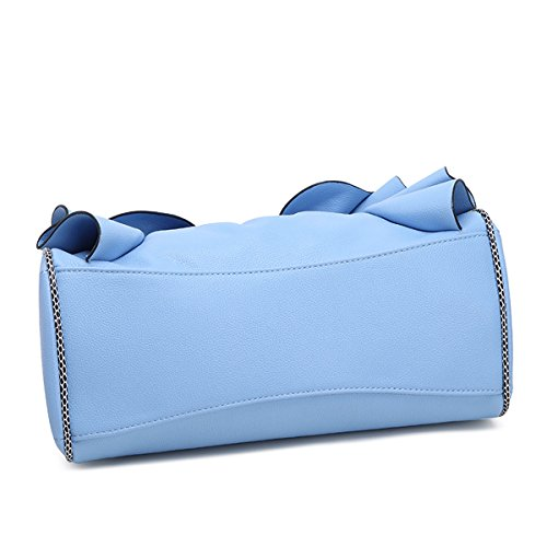 KAXIDY Elegante Borsa Donna Bauletto Borse a Mano Pelle PU Tote Borse a Tracolla (Bianco) Blu