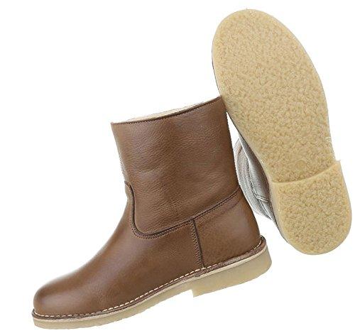 Damen Stiefeletten Schuhe Stiefel Used Optik Leder Boots Beige Braun 36 37 38 39 40 41 Braun